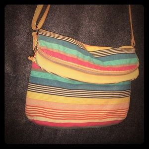 Relic's colorfully striped canvas crossbody bag